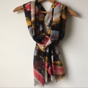 Anthropologie Feather Print Cotton Scarf Raw Edge